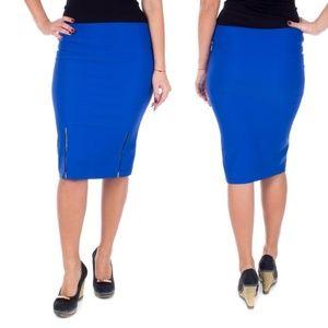 Women Stretch Pencil Skirt, d-4023, Royal Blue